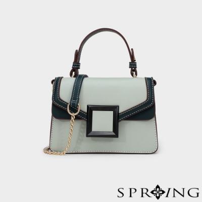 SPRING-方框優雅側背包-柔和綠