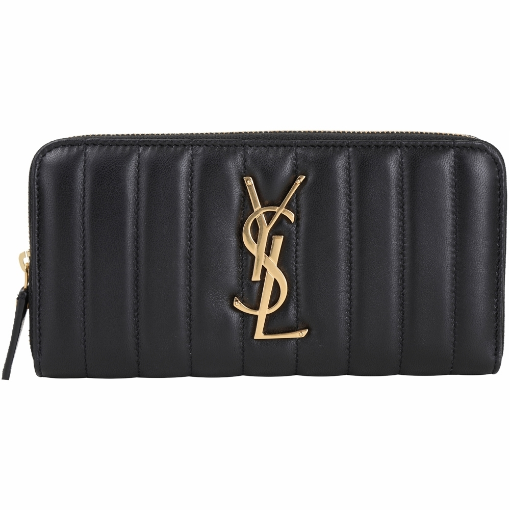 YSL Saint Laurent VICKY 衍縫小羊皮拉鍊長夾(黑色)