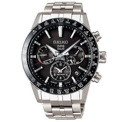 SEIKO 精工ASTRON雙時區GPS定位鈦金錶SSH003J1-黑X銀/43mm