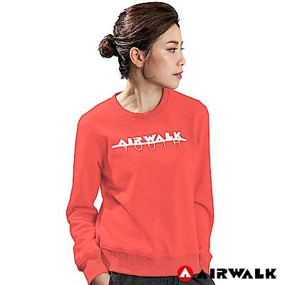 【AIRWALK】女款圓領長袖T-粉紅