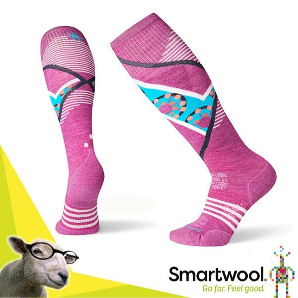 SmartWool 美麗諾羊毛 滑雪輕量菁英減震型印花高筒襪(2入)_粉霧紫