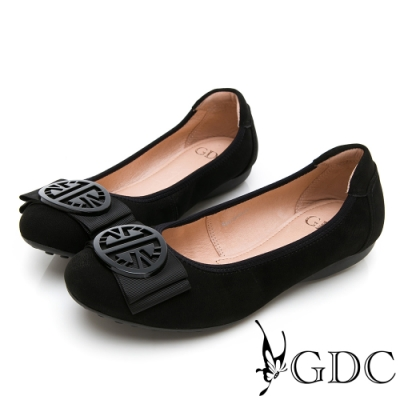 GDC-真皮素色典雅基本上班蝴蝶結磨砂平底鞋-黑色