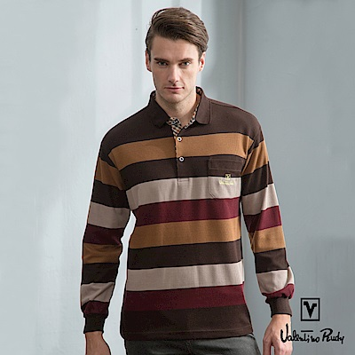Valentino Rudy范倫鐵諾.路迪-長袖POLO衫-咖啡紅棕條