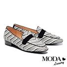 低跟鞋 MODA Luxury 復古清新漆皮條帶雙色編織樂福低跟鞋-黑
