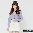 H:CONNECT 韓國品牌 女裝-小V領排釦條紋襯衫-藍