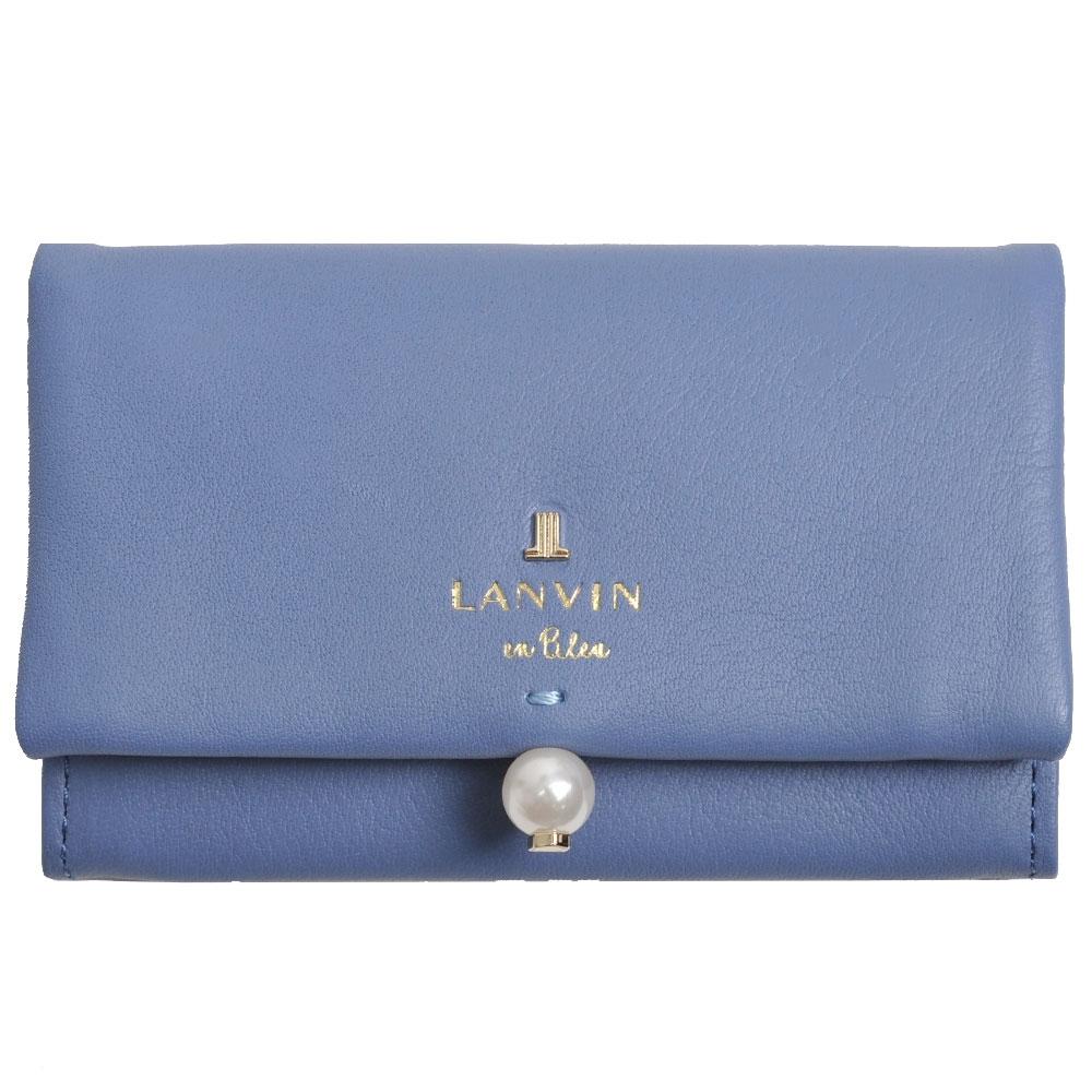 LANVIN en Bleu 品牌字母LOGO珍珠風造型名片夾(矢車菊藍)