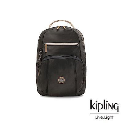Kipling 邊緣地帶極致黑前後雙層收納後背包-TROY-EDGELAND系列