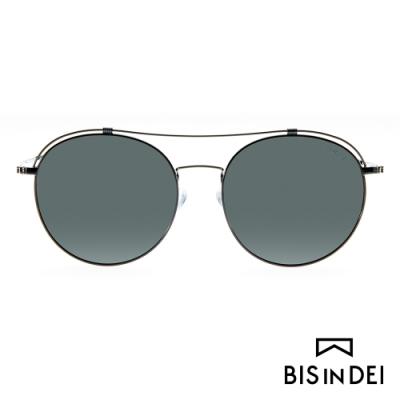 BIS IN DEI 復古造型雙槓太陽眼鏡-黑