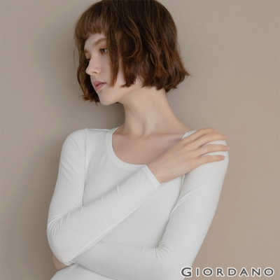 GIORDANO 女裝G-WARMER PLUS+圓領極暖衣 - 01 皎雪