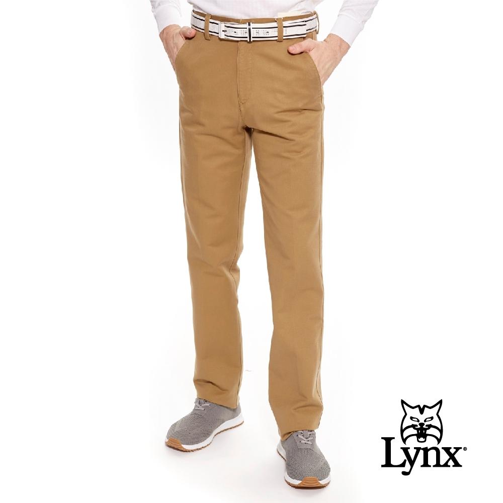 【Lynx Golf】男款彈性舒適素面平口休閒長褲-卡其色