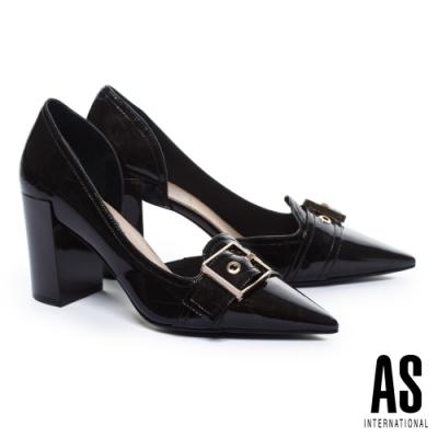 高跟鞋 AS 復古時髦金釦條帶爆裂紋尖頭粗高跟鞋-咖