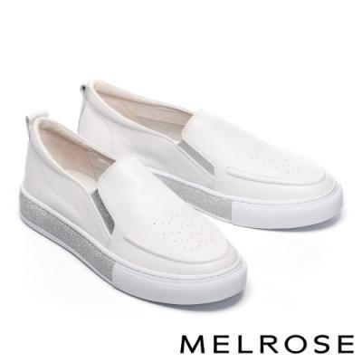休閒鞋 MELROSE 時尚百搭金蔥邊全真皮厚底休閒鞋-白