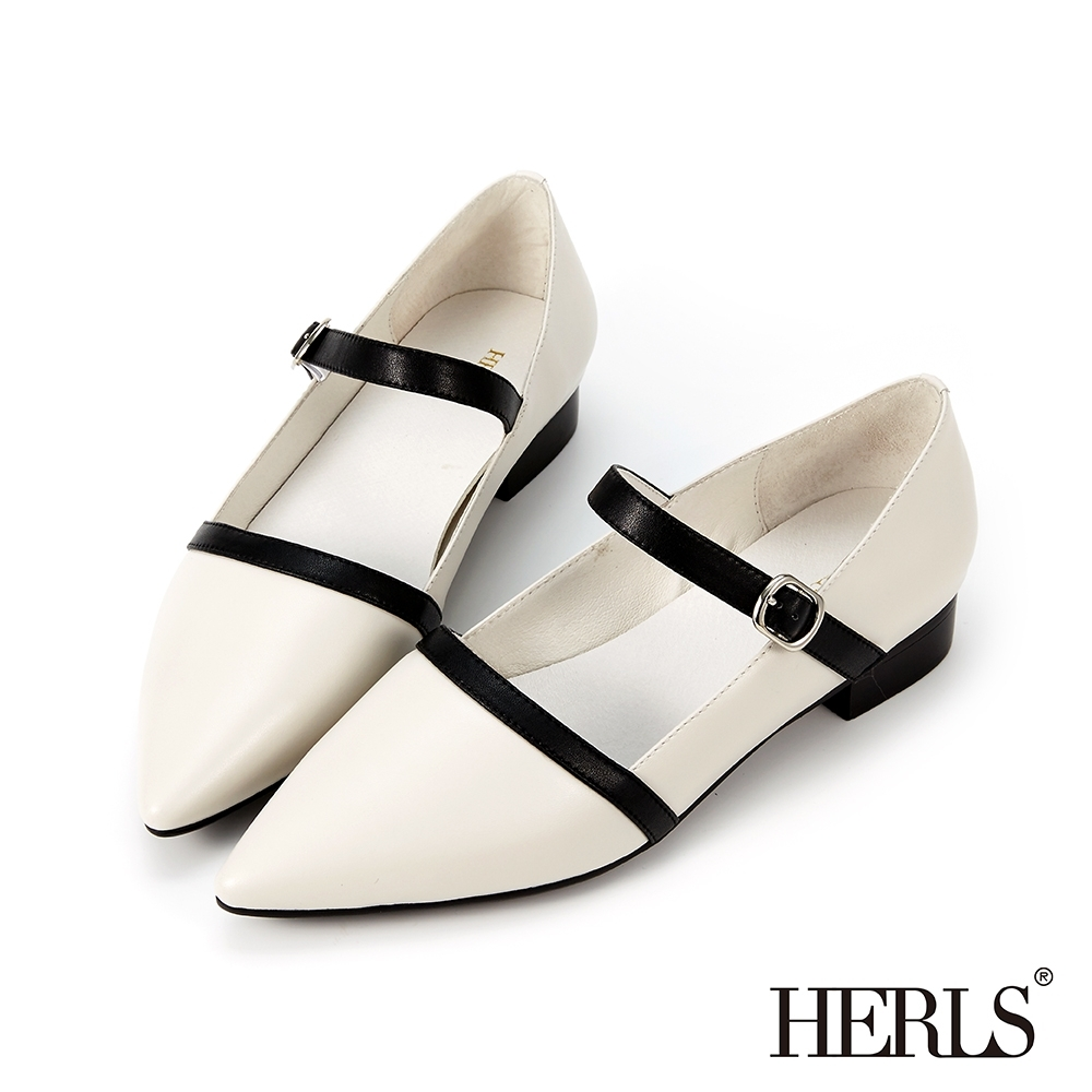 HERLS低跟鞋-全真皮優雅配色瑪莉珍尖頭低跟鞋-白色