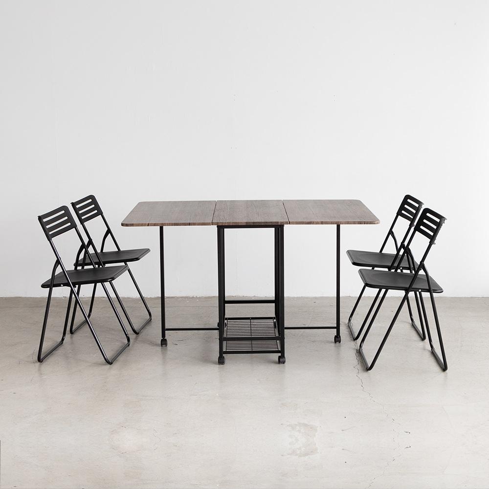 Amos-可延伸折疊收納1+4木板餐桌椅組