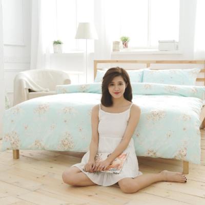 BUHO 雙人加大三件式精梳純棉床包組(天空花園-藍綠)