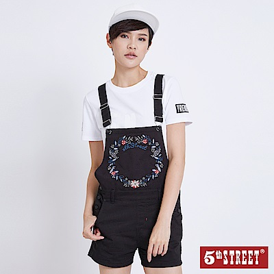 5th STREET 春漾繡花休閒吊帶短褲-女-黑色