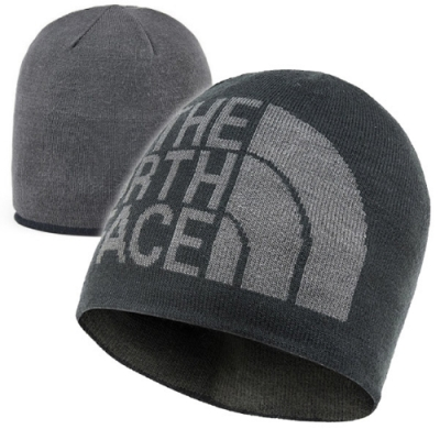 The North Face 新款 雙面針織保暖帽.毛線帽.保暖針織_黑/瀝灰