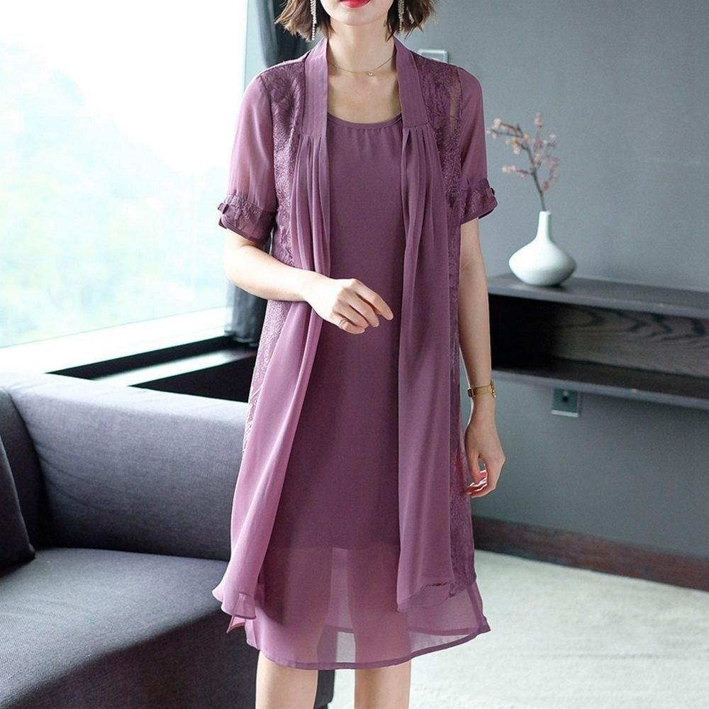 優雅知性簡約大方二件套組洋裝L-4XL(共二色)-REKO