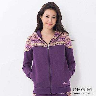 【TOP GIRL】提花拼接連帽外套 - 深紫