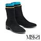 短靴 MISS 21 率性跳色線條異材質彈力拼接粗高跟短靴-黑 product thumbnail 1