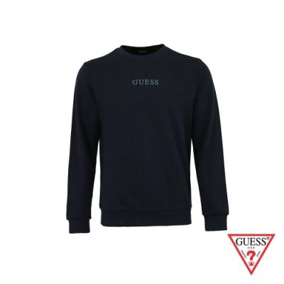 GUESS-男裝-簡約素面雙刺繡LOGO大學T-深藍 原價2990
