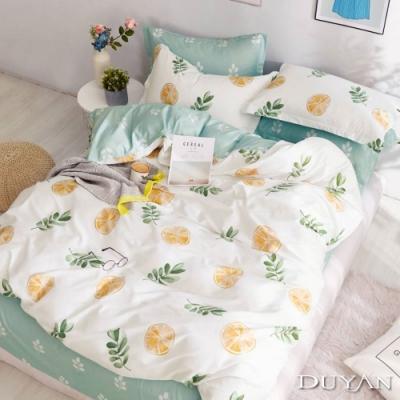 DUYAN竹漾-100%精梳棉/200織-雙人加大四件式舖棉兩用被床包組-香橙冰茶 台灣製