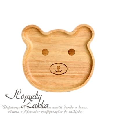 Homely Zakka 木趣食光櫸木創意卡通托盤/兒童餐盤/點心盤_熊熊