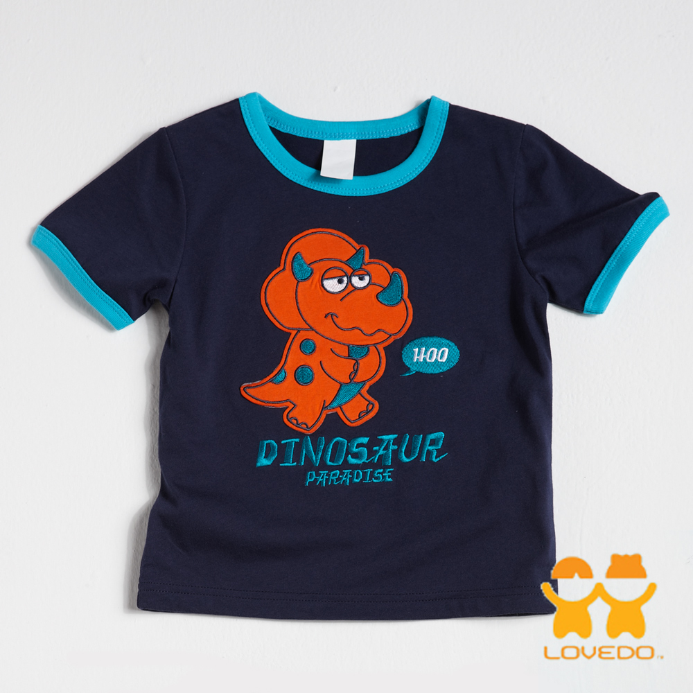 【LOVEDO-艾唯多童裝】溫馴三角龍 拼布式短袖T恤 (深藍)