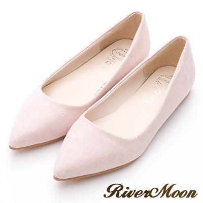 River&Moon法式馬卡龍繽紛素面絨料平底鞋-粉