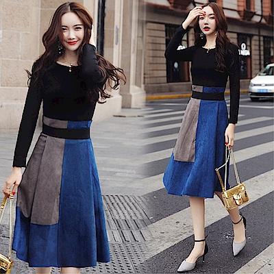 DABI 韓系氣質修身上衣撞色半身裙套裝長袖裙裝