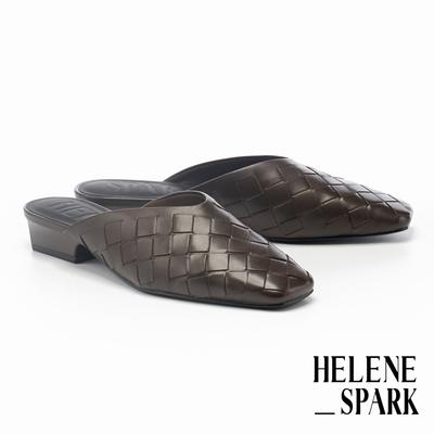穆勒鞋 HELENE SPARK 自然量感編織羊皮方頭低跟穆勒拖鞋-咖