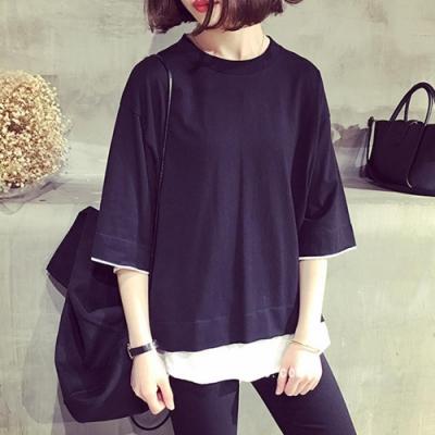 Hera 赫拉-個性淑女假兩件短袖T恤-2色