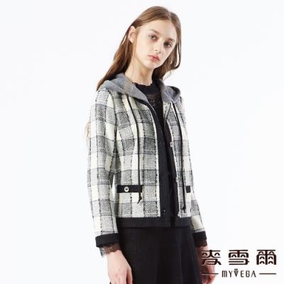 【麥雪爾】羊毛格紋可拆式連帽外套