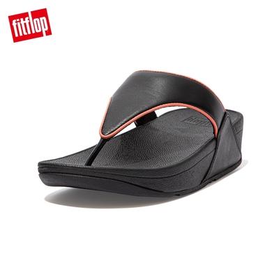 【FitFlop】LULU POP BINDING TOE-POST SANDALS 全皮革經典夾腳涼鞋-女(黑/柔和粉)