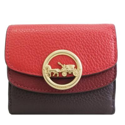 COACH 新款圓標馬車金屬LOGO雙色牛皮短夾(紅X棕)
