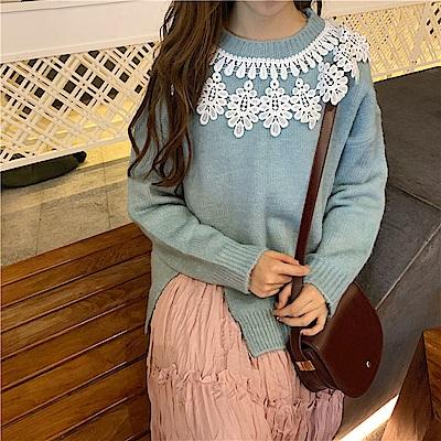 La Belleza白色蕾絲花邊圍領圓領下擺側開叉針織毛衣 @ Y!購物