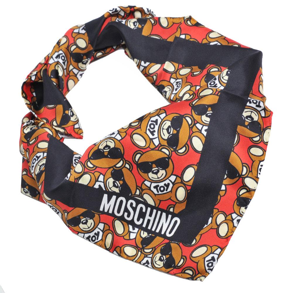 MOSCHINO 義大利繽紛TOY小熊LOGO圖騰100%絲質絲巾(紅/黑)