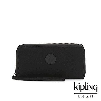 Kipling 極致低調黑多層收納拉鍊長夾-IMALI