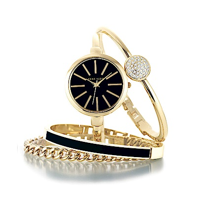 Anne Klein 璀璨金漾絕美腕錶 施華洛世奇美鑽手錶手鍊套組-黑x32mm