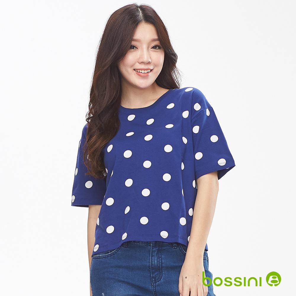 bossini女裝-圓領短袖印花上衣-點點藍