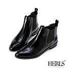 HERLS短靴-全真皮素面尖頭鬆緊切爾西低跟短靴-黑色