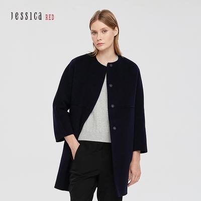 JESSICA RED - 保暖無領可拆卸羽絨內裡羊毛雙面呢中長款大衣(深藍)