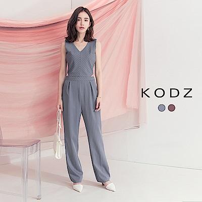 東京著衣-KODZ 女人心機挖腰打褶條紋西裝連身褲-S.M.L(共兩色)