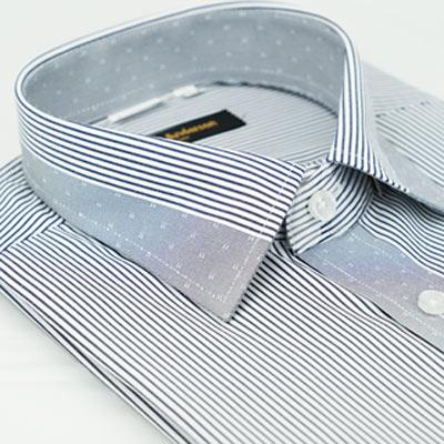 金‧安德森 灰色變化領窄版短袖襯衫fast