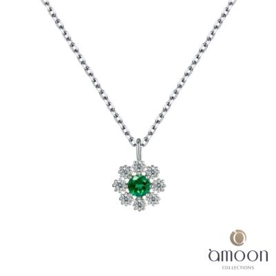amoon 韓情脈脈系列 青翠 K金鑽石項鍊