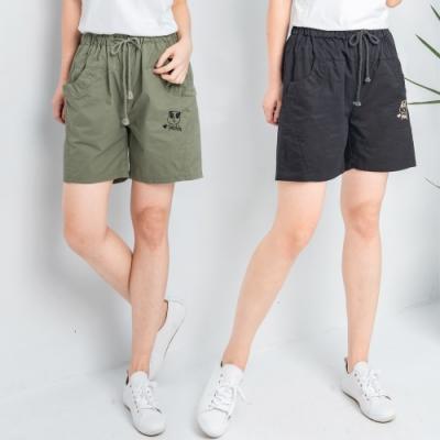 【白鵝buyer】 熊貓刺繡PNADA休閒短褲-黑