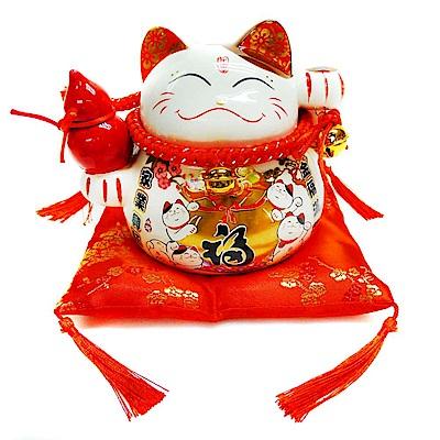 摩達客 春節中型招財貓撲滿存錢桶/擺飾桌飾-金福款 (含坐墊)
