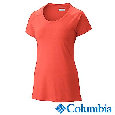 Columbia 哥倫比亞 女款-防曬50快排短袖上衣-橘紅UAK16560AH