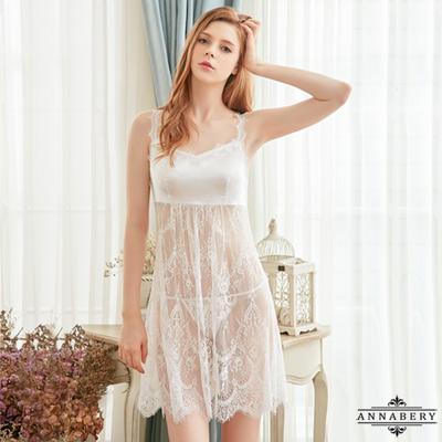 大尺碼純白花嫁透視蕾絲二件式性感睡衣 白 L-2L Annabery