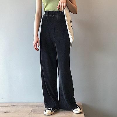 細壓摺雪紡寬褲-2色-TMH